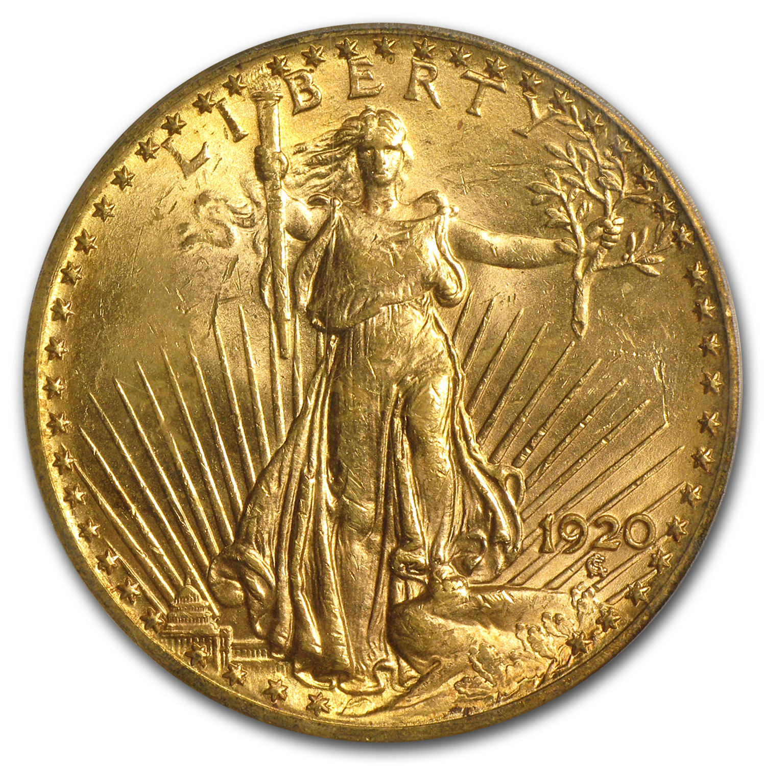 1920 $20 St. Gaudens Gold Double Eagle - MS-62 PCGS
