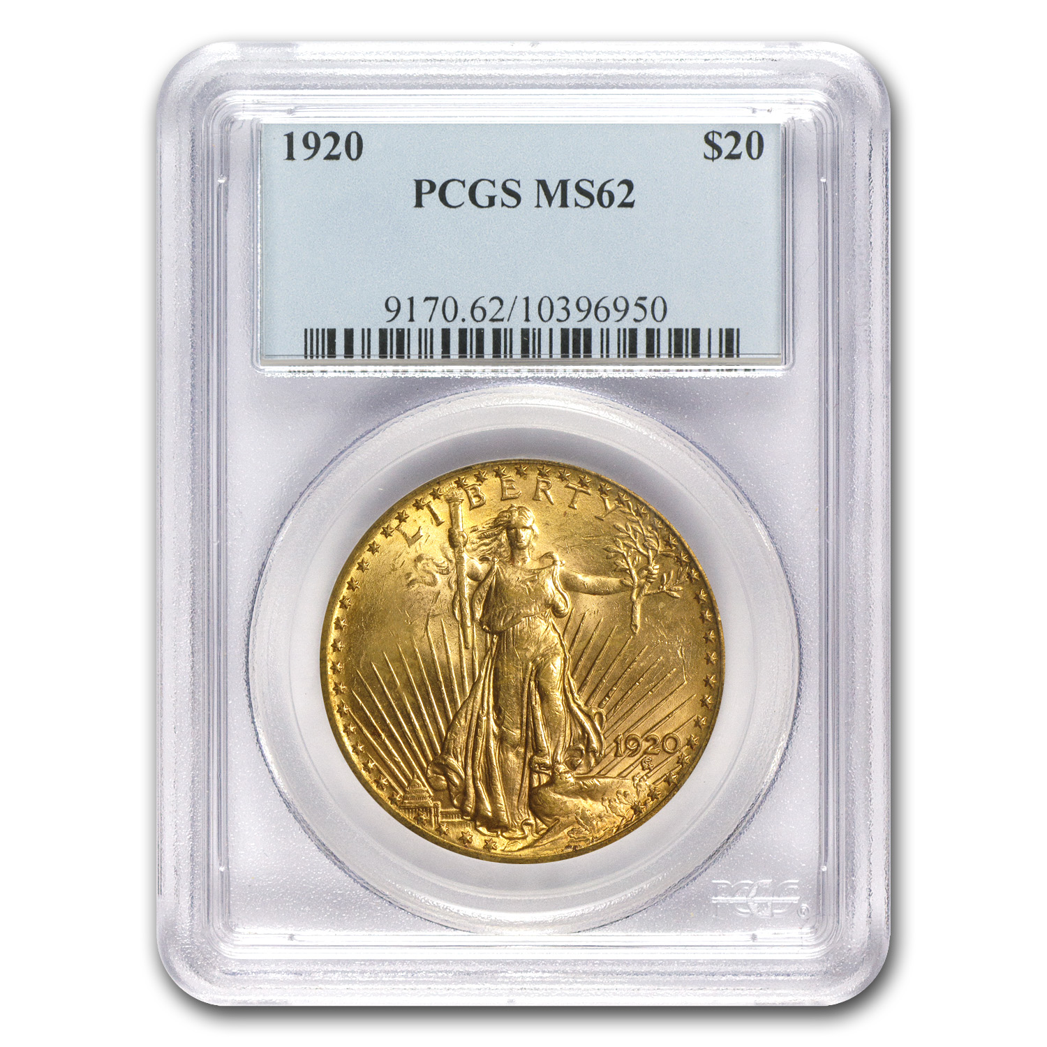 1920 $20 St. Gaudens Gold Double Eagle MS-62 PCGS