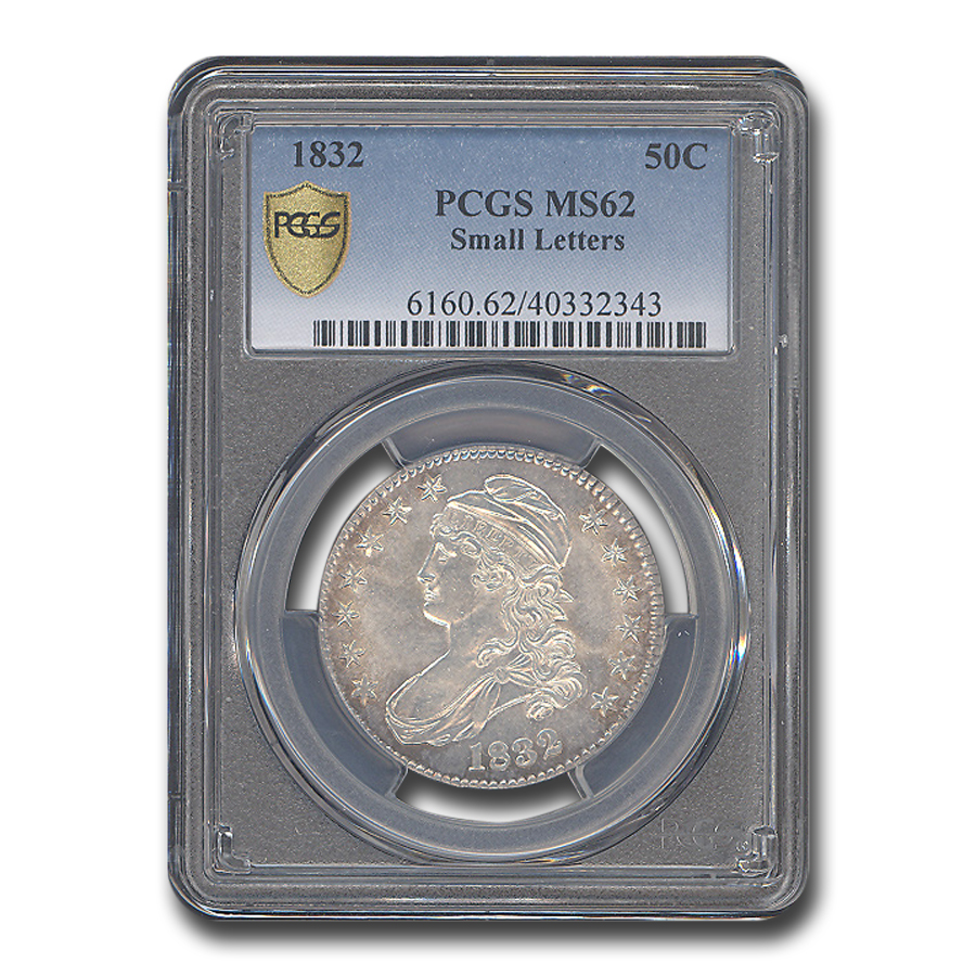 1832 Capped Bust Half Dollar Small Letters MS-62 PCGS