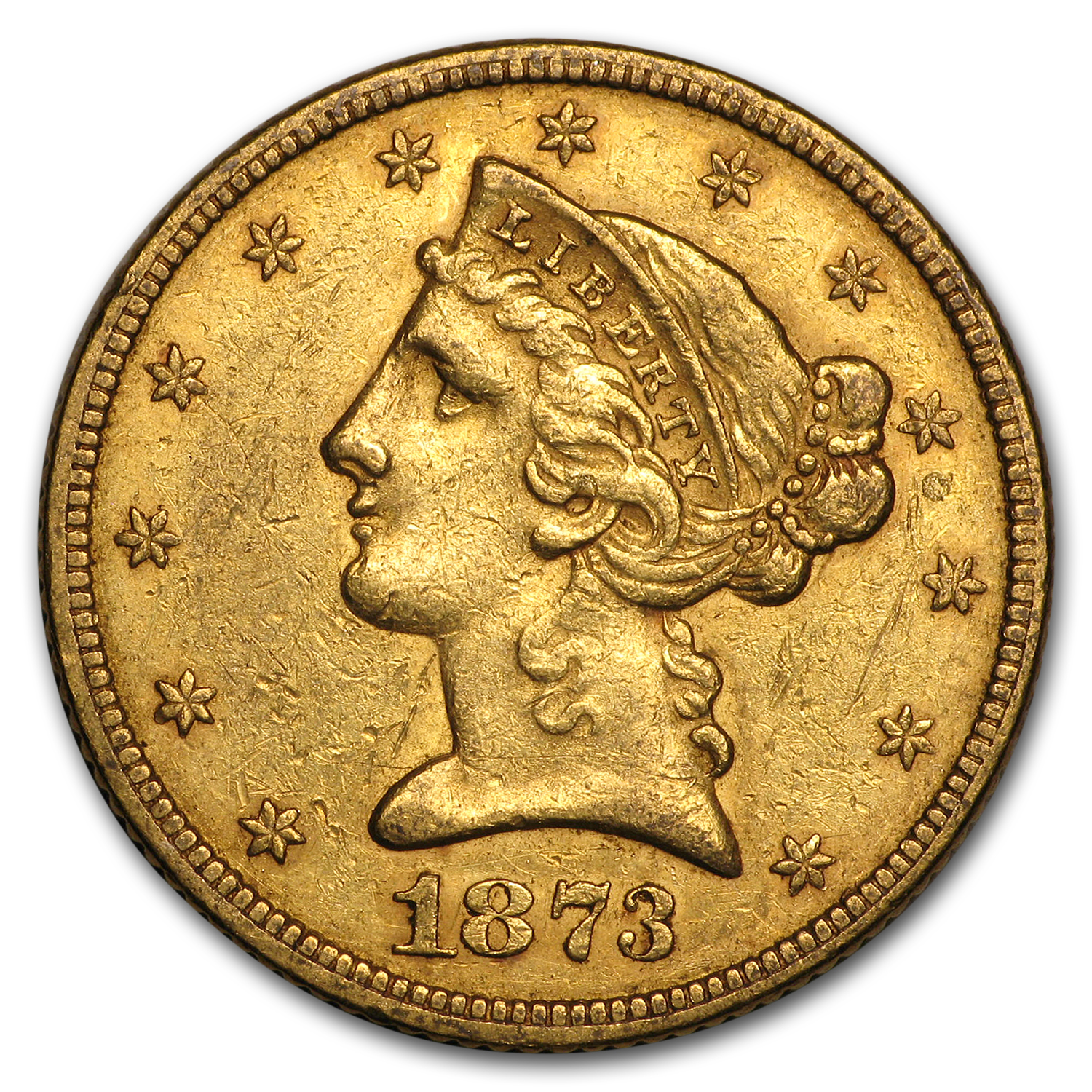 1873 $5 Liberty Gold Half Eagle Open 3 AU