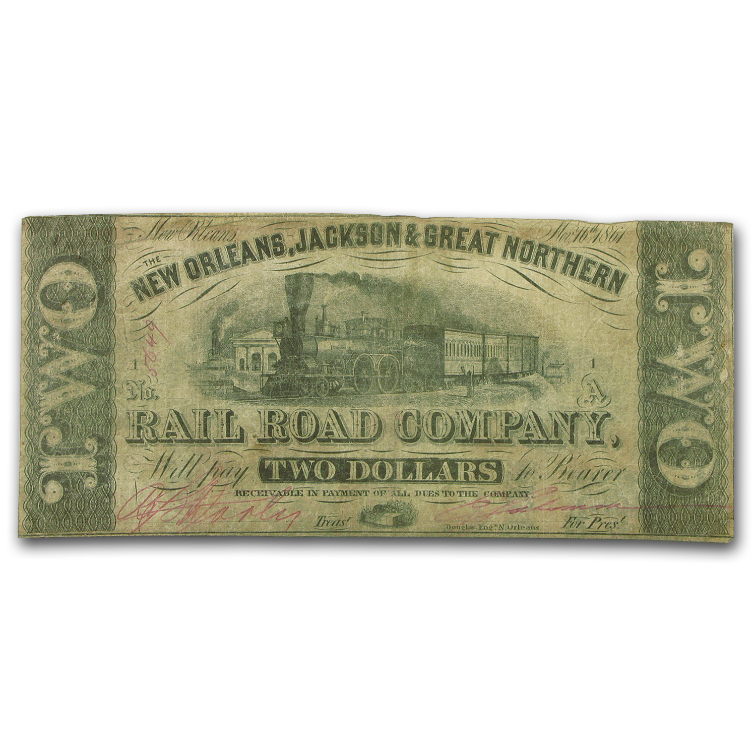1861 N.O., Jackson & Great Northern RR Co. $2.00 Note VF