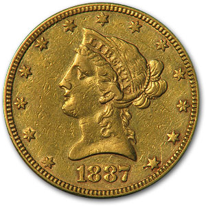 1887 $10 Liberty Gold Eagle Almost Uncirculated