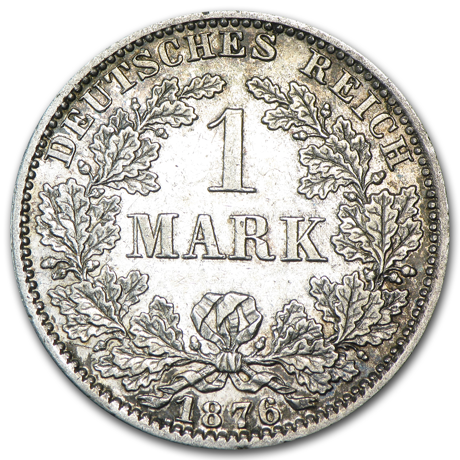 Germany 1876-A Silver 1 Mark AU