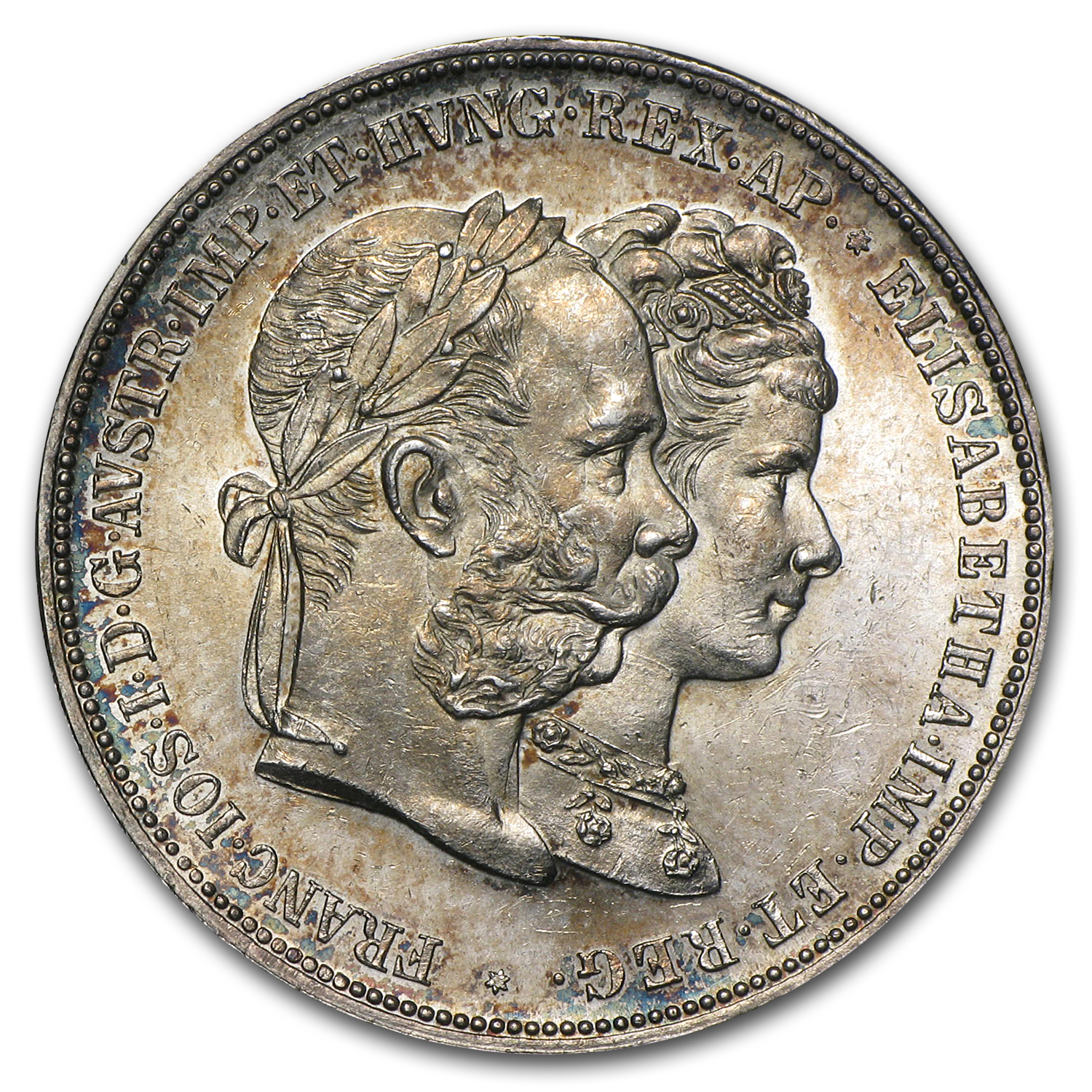 Austria 1879 Silver 2 Gulden Wedding Anniv. BU
