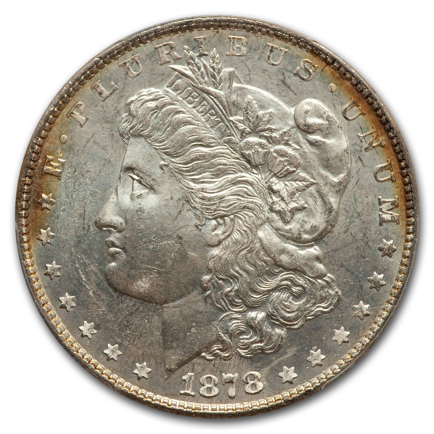 1878 Morgan Dollar - 7 Tailfeathers Rev. of 78 MS-63 DMPL PCGS
