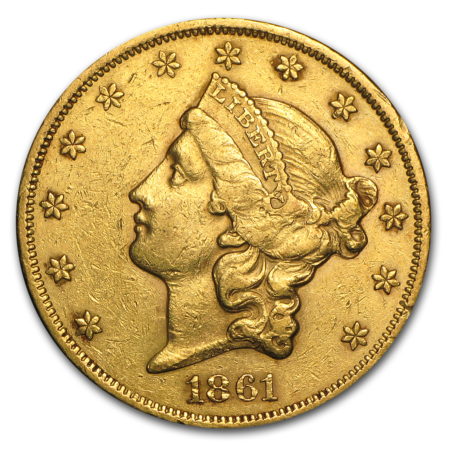 1861 $20 Liberty Gold Double Eagle XF
