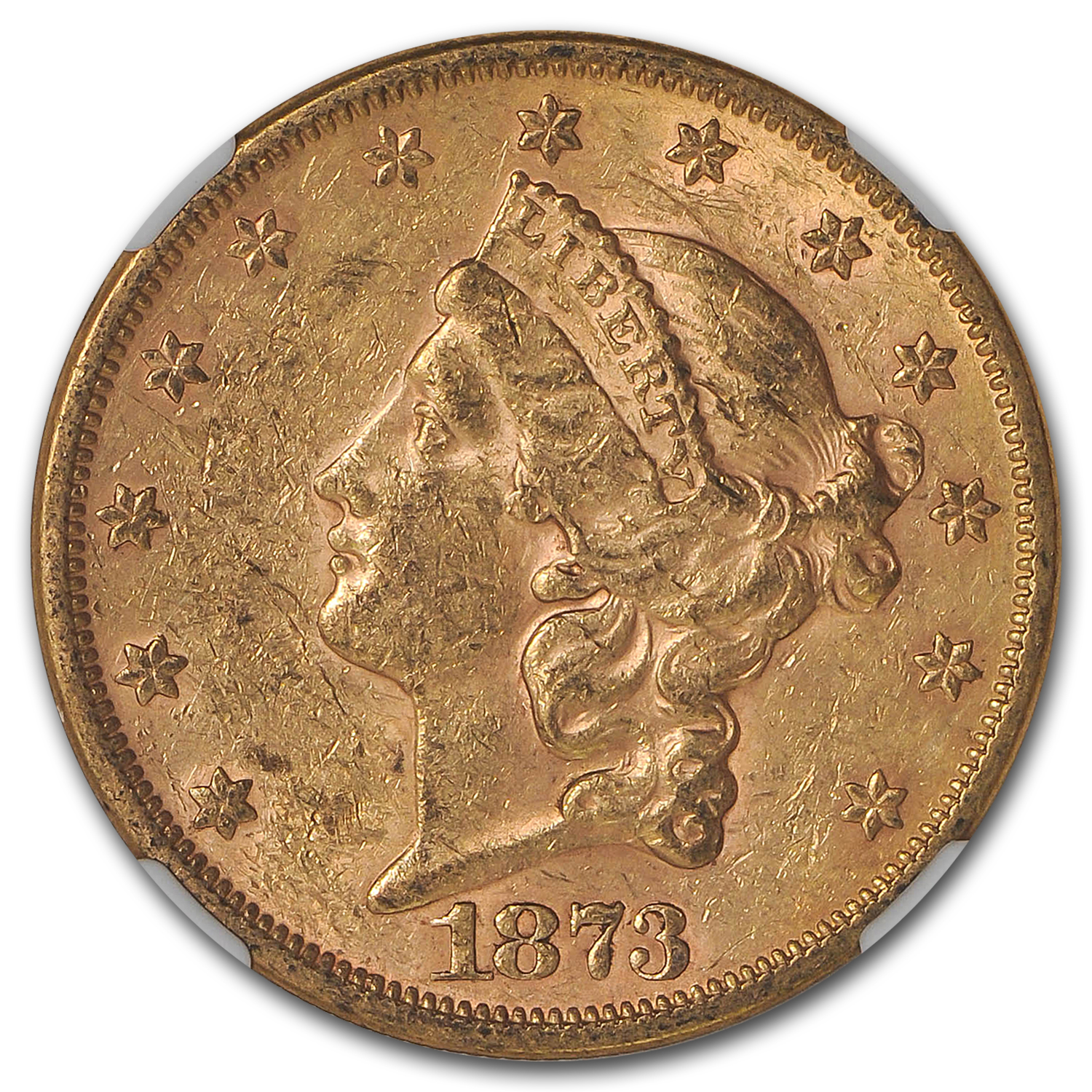 1873-S $20 Liberty Gold Double Eagle Closed 3 AU-58