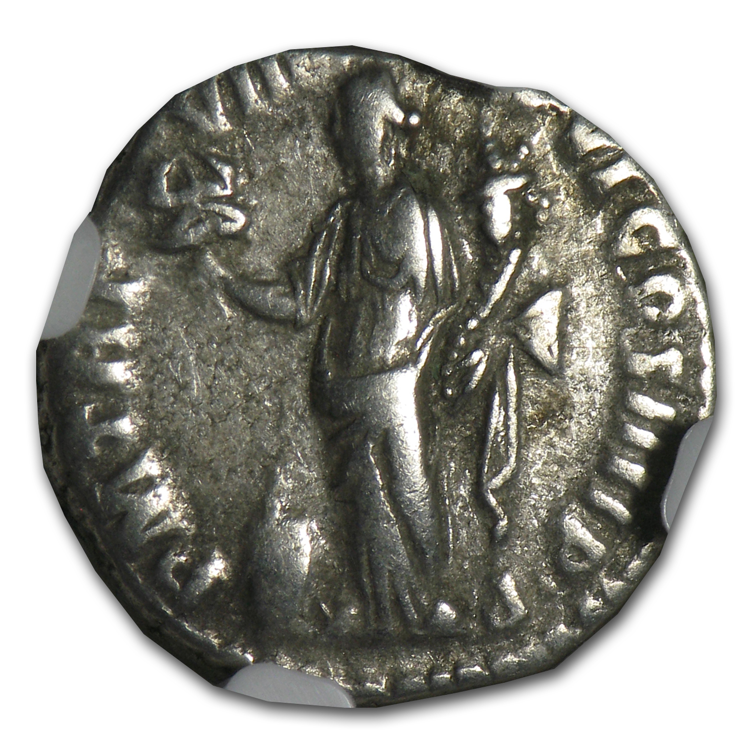Roman Silver Denarius of Emperor Commodus (177-192AD) NGC ChFine