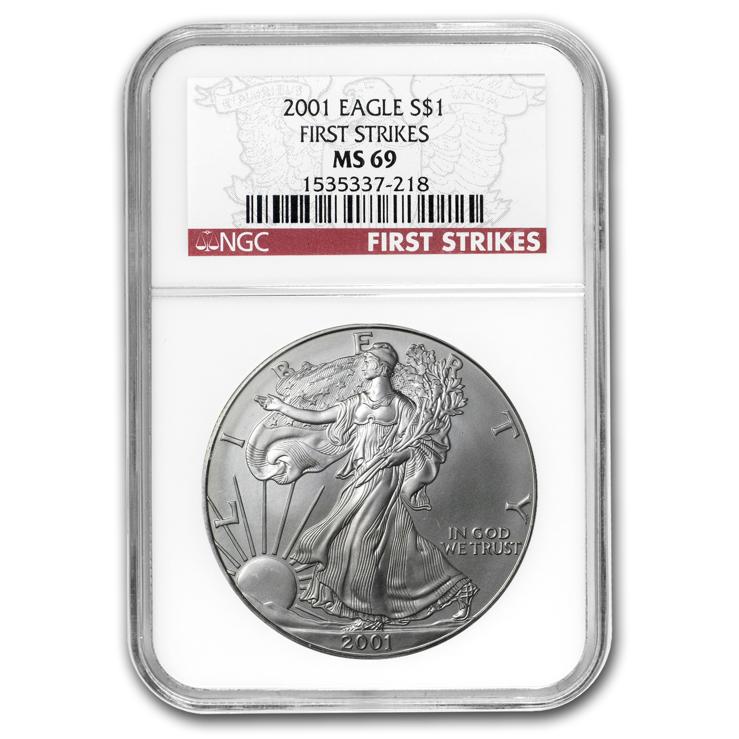 2001 Silver American Eagle - MS-69 NGC - First Strike