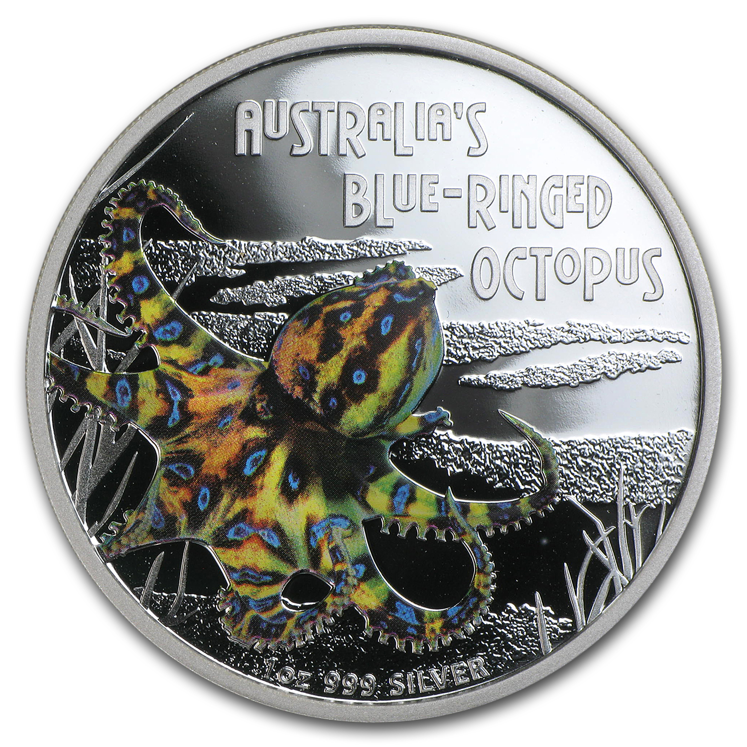 2008 Tuvalu 1 oz Silver Blue Ringed Octopus Proof