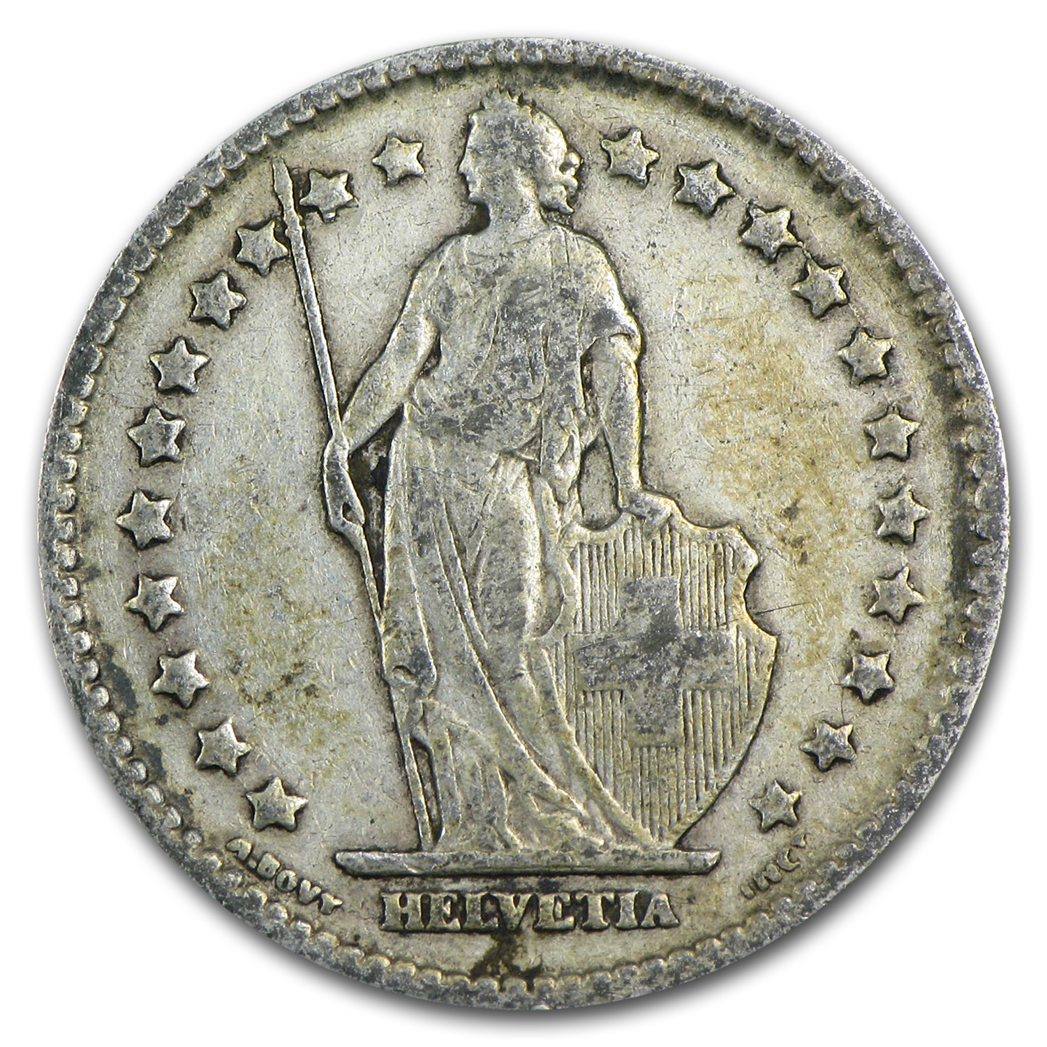 Switzerland 1901-1967 1 Franc Silver Avg Circ ASW .1342