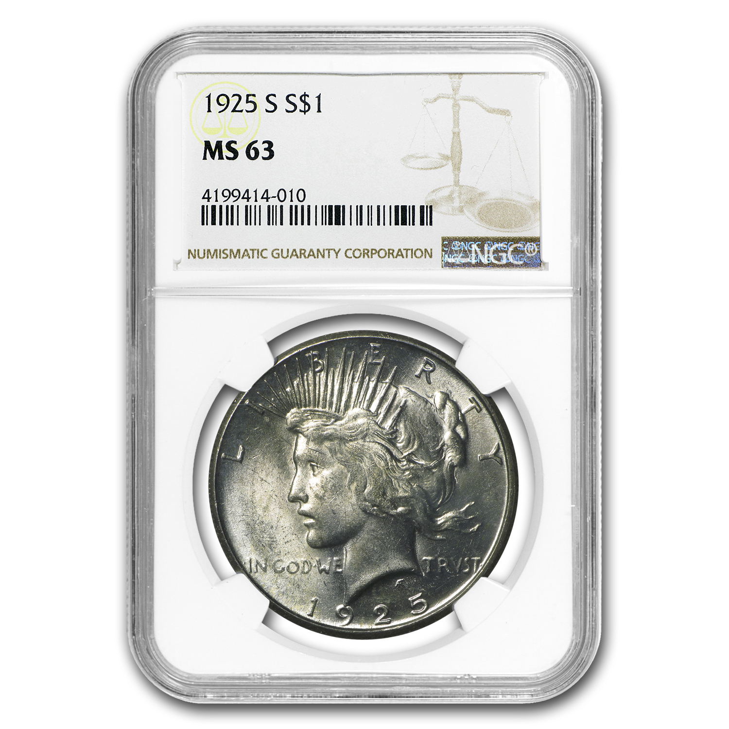 1925-S Peace Dollar MS-63 NGC