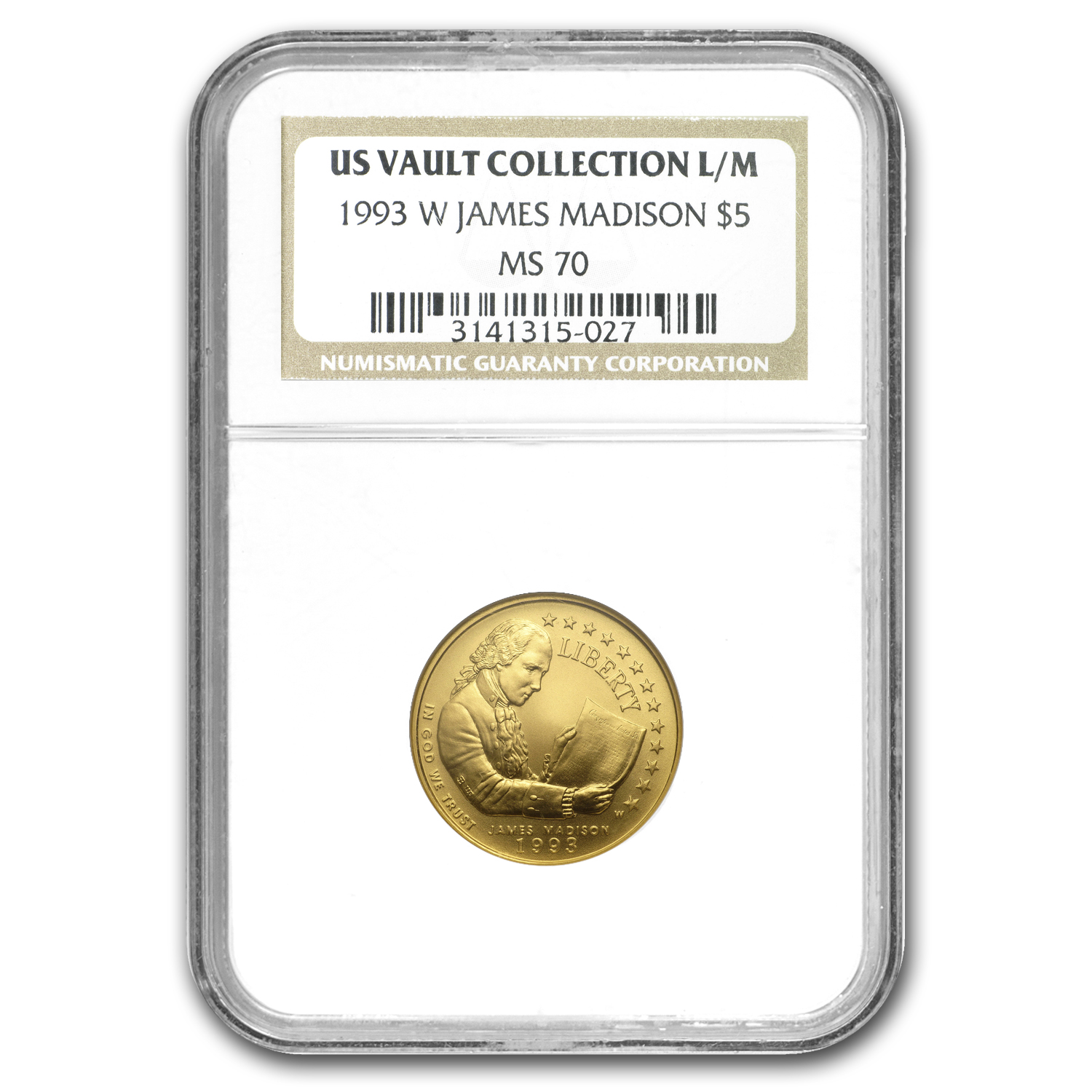 1993-W Gold $5 Commem Bill of Rights MS-70 NGC