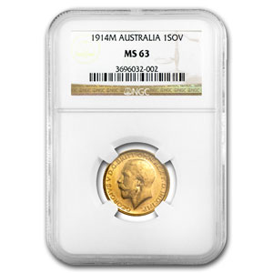 Australia Sovereign Gold George V PCGS/NGC MS-63