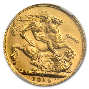 1910-1936 Australia Gold Sovereign George V MS-63 PCGS/NGC