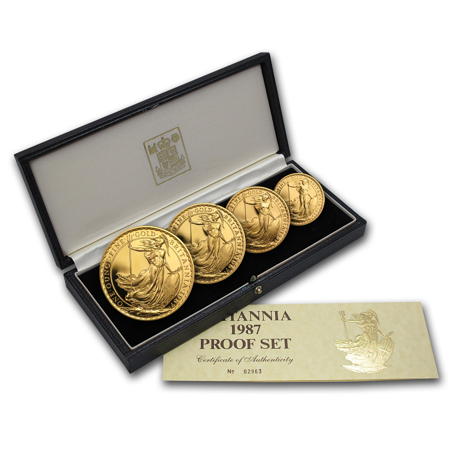 1987 4-Coin Gold Britannia Proof Set (w/Box & COA)