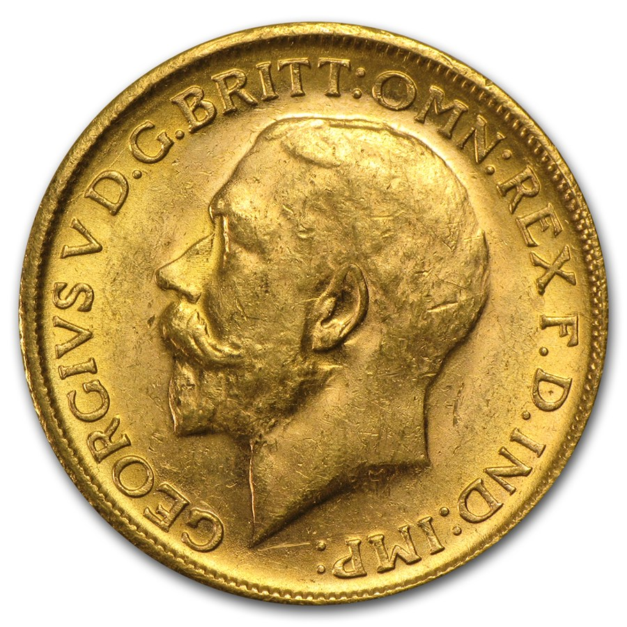 Great Britain Gold Sovereign George V Average Circ