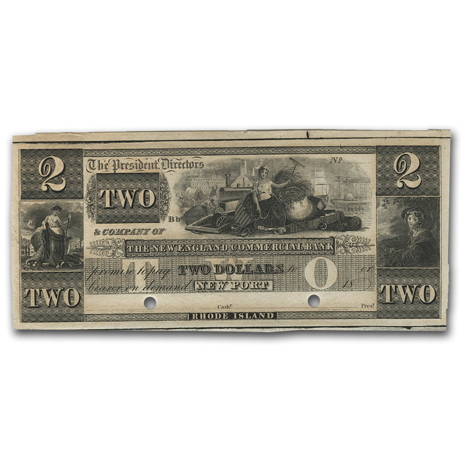 18__ New England Commercial Bank Newport, RI $2 RI-155 CU (G36)