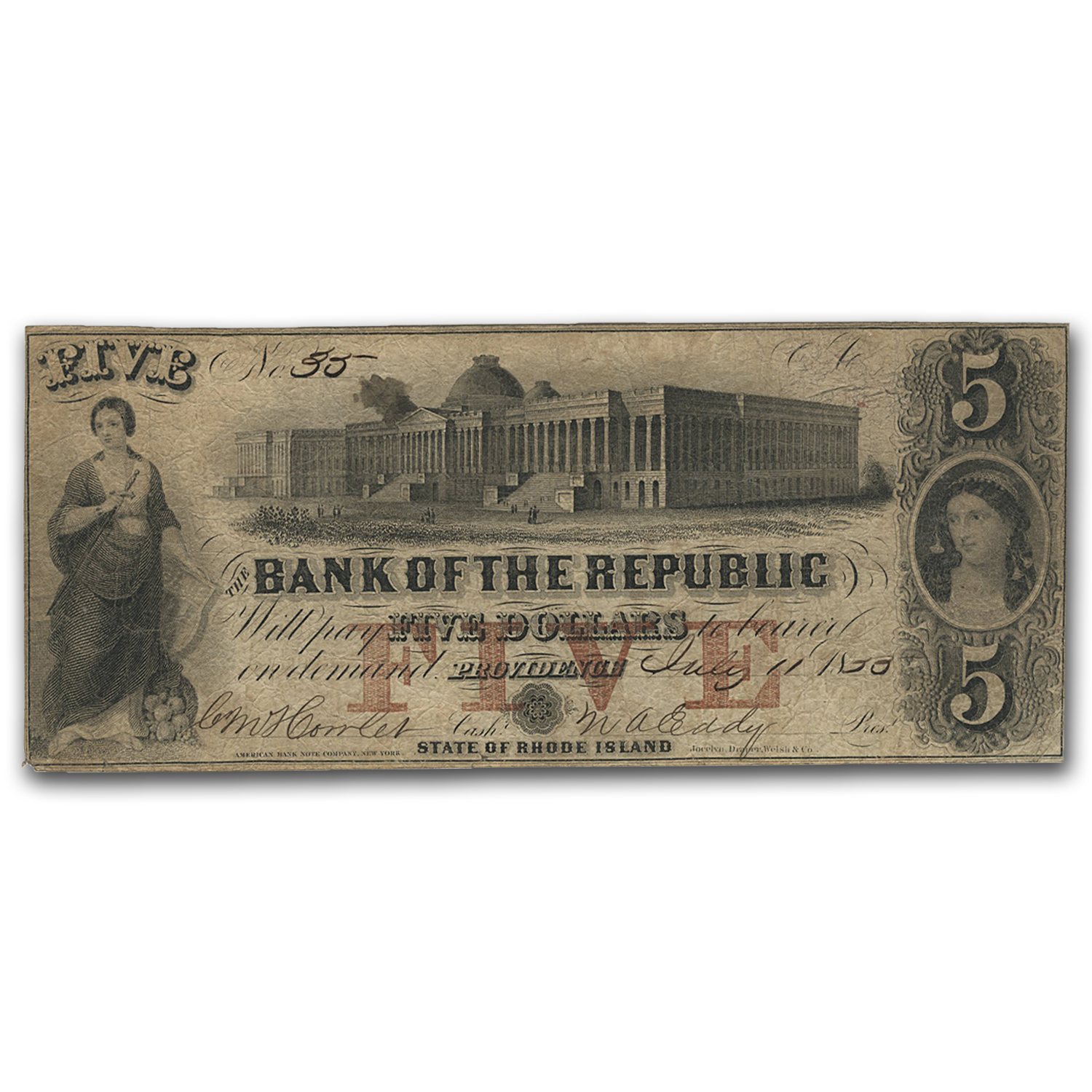 1856 Bank of the Republic, Providence, RI $5 RI-385 VF (G8a)