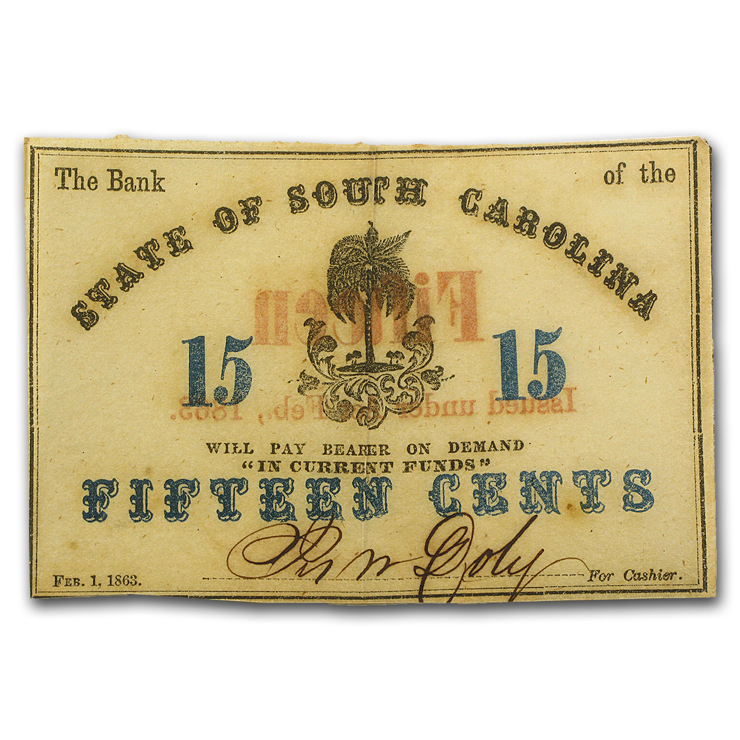 1863 Bank of the State of South Carolina $.75 SC-45 Fine