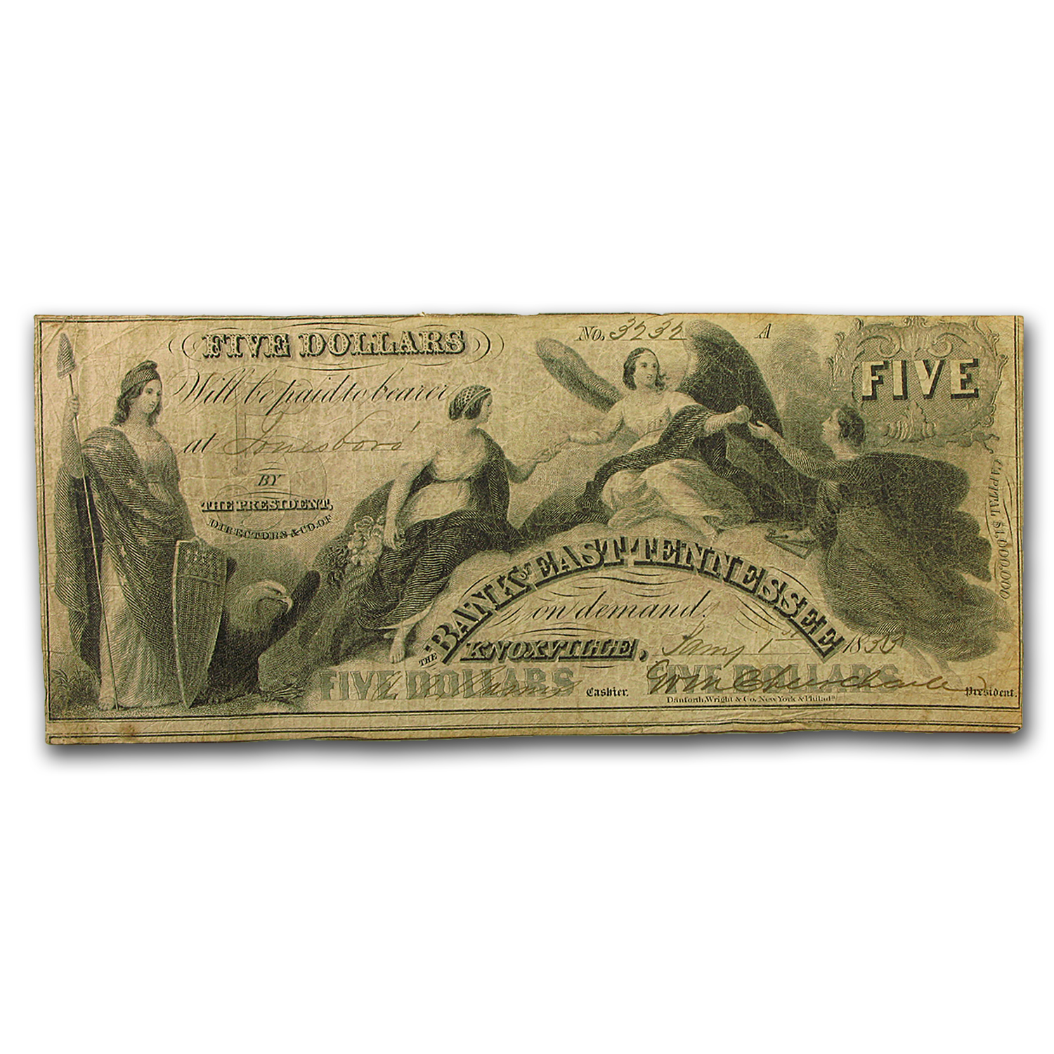 1855 Bank of East Tennessee @ Knoxville $5.00 Note TN-55 Fine