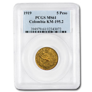 Colombia Gold 5 Pesos MS-61 PCGS (Random)