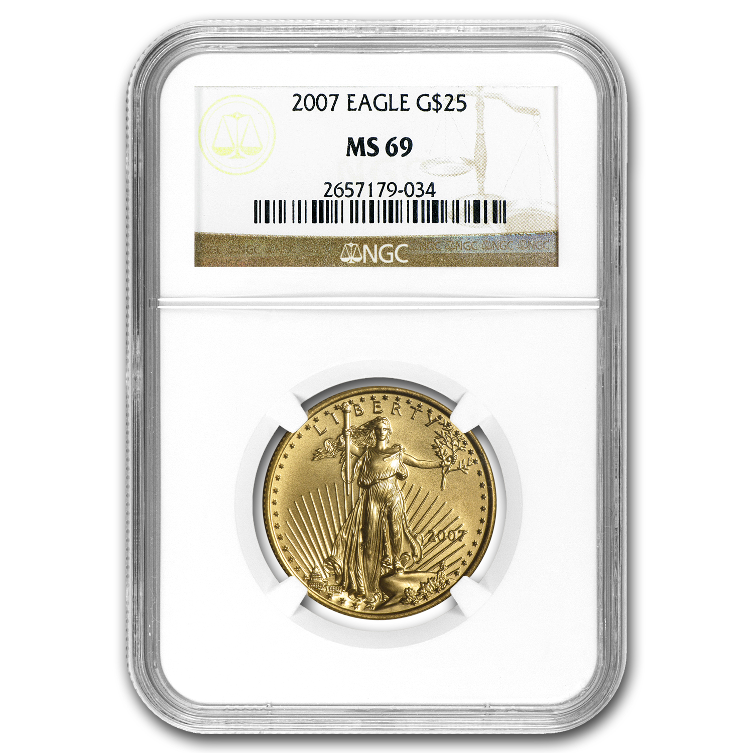 2007 1/2 oz Gold American Eagle MS-69 NGC