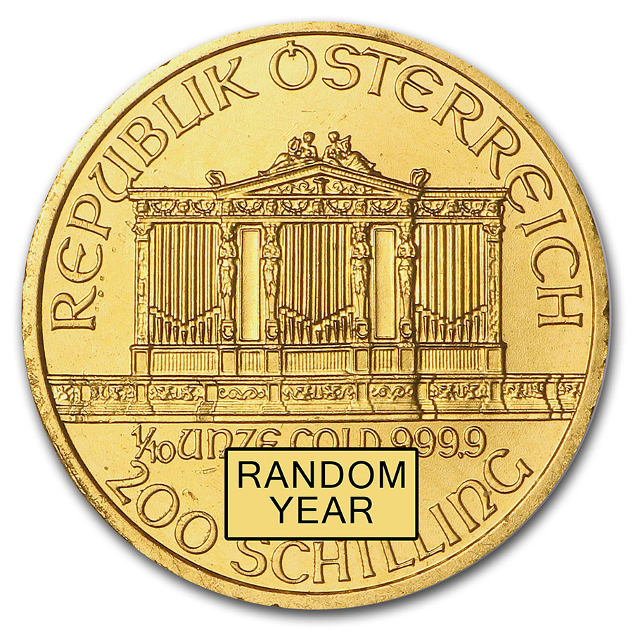 Austria 1/10 oz Gold Philharmonic BU (Random Year)