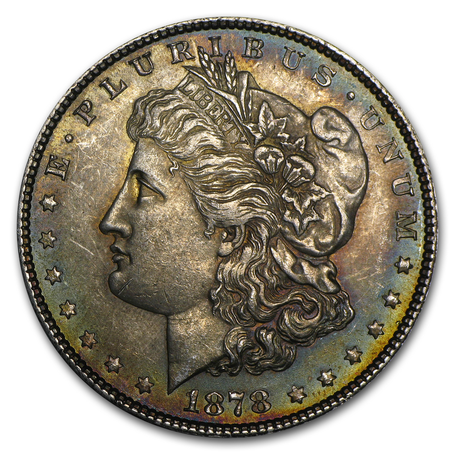 1878 Morgan Dollar 7/8 Tailfeathers AU Strong Details (Cleaned)