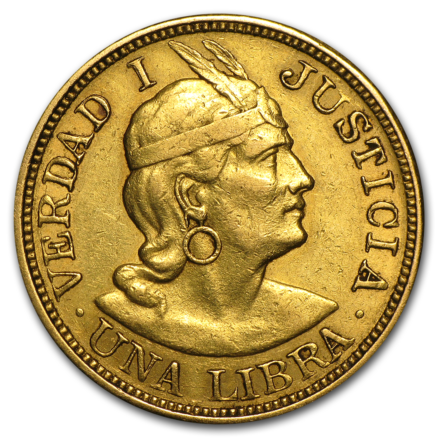 Peru 1 Libra Gold Average Circulated - Random Dates