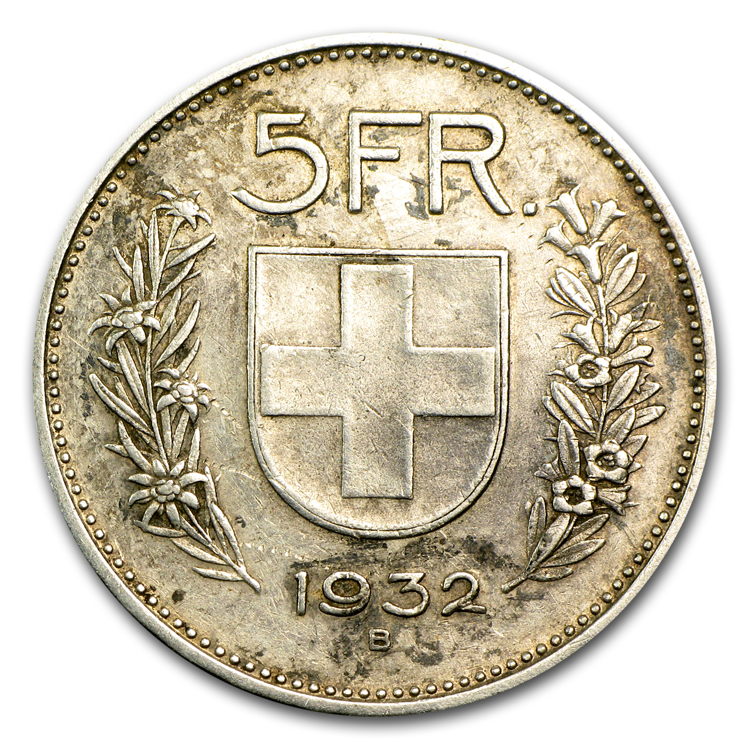 1931-1969 Switzerland Silver 5 Francs (Random Dates, ASW .4027)