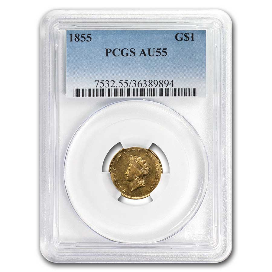 1855 $1 Indian Head Gold AU-55 PCGS