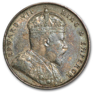 1907 Straits Settlements Silver Dollar of Edward VII EF+
