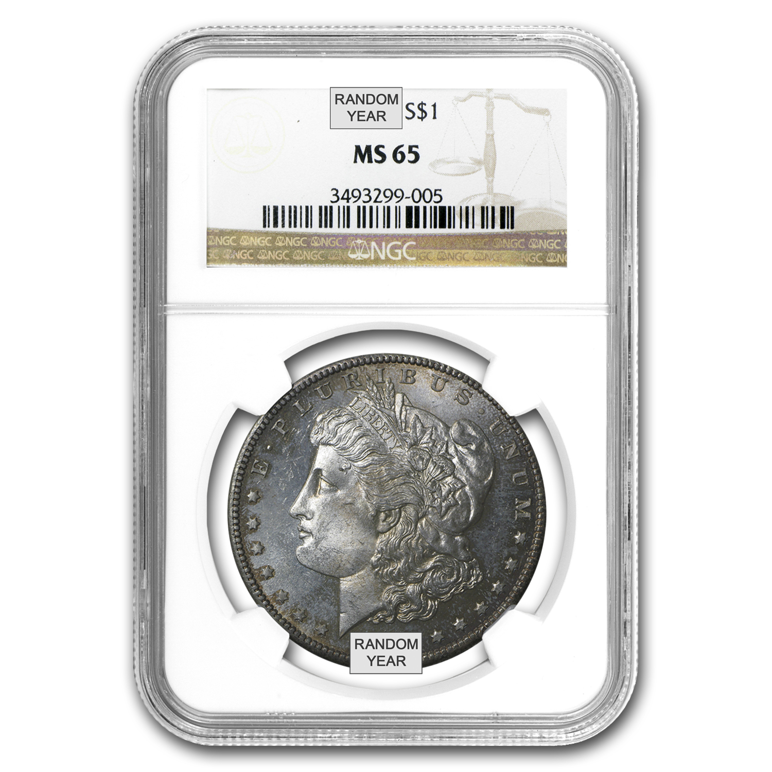 1878-1904 Morgan Dollars - MS-65 NGC (Toned Obv/Rev or Both)