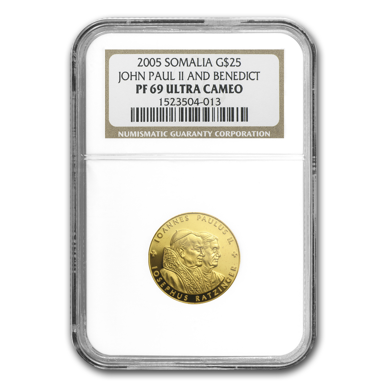 2005 Somalia 1/4 oz Proof Gold $25 Two Popes PF-69 NGC