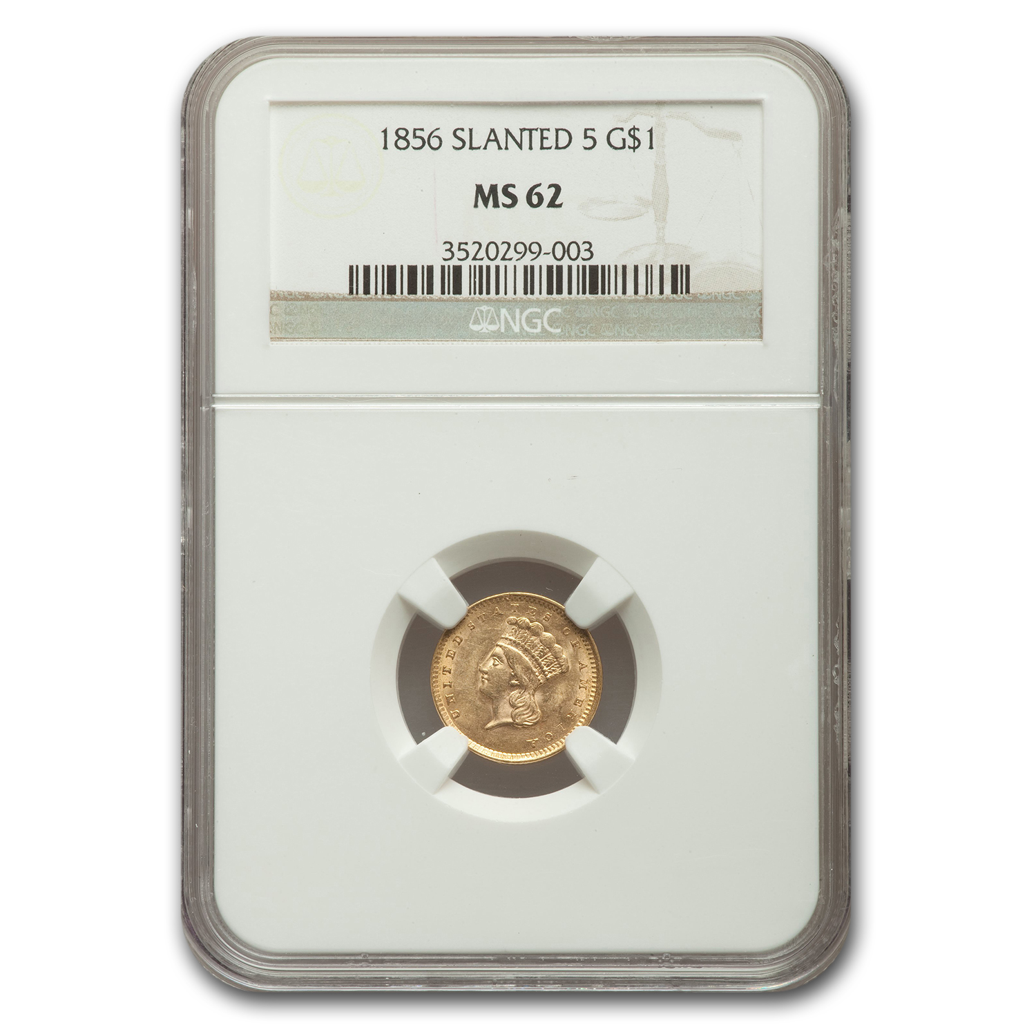 1856 $1 Indian Head Gold Slanted 5 MS-62 NGC