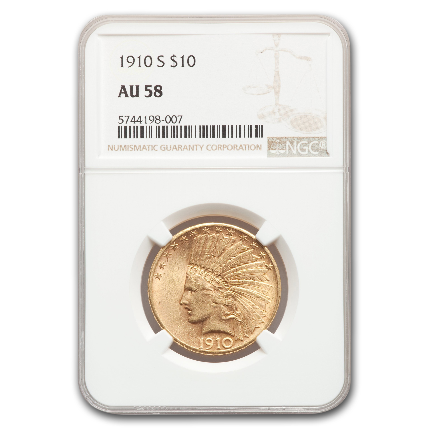 1910-S $10 Indian Gold Eagle AU-58 NGC
