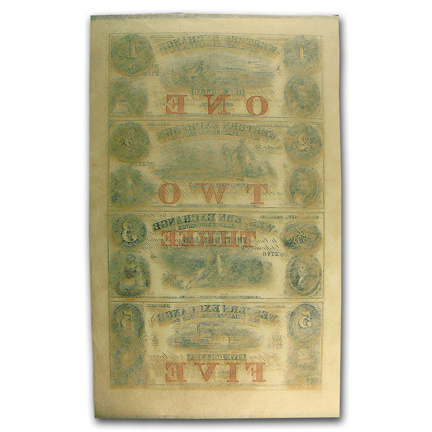 18__ UNCUT SHEET Western Exchange Fire Insurance Co$1-2-3-5 NE-80