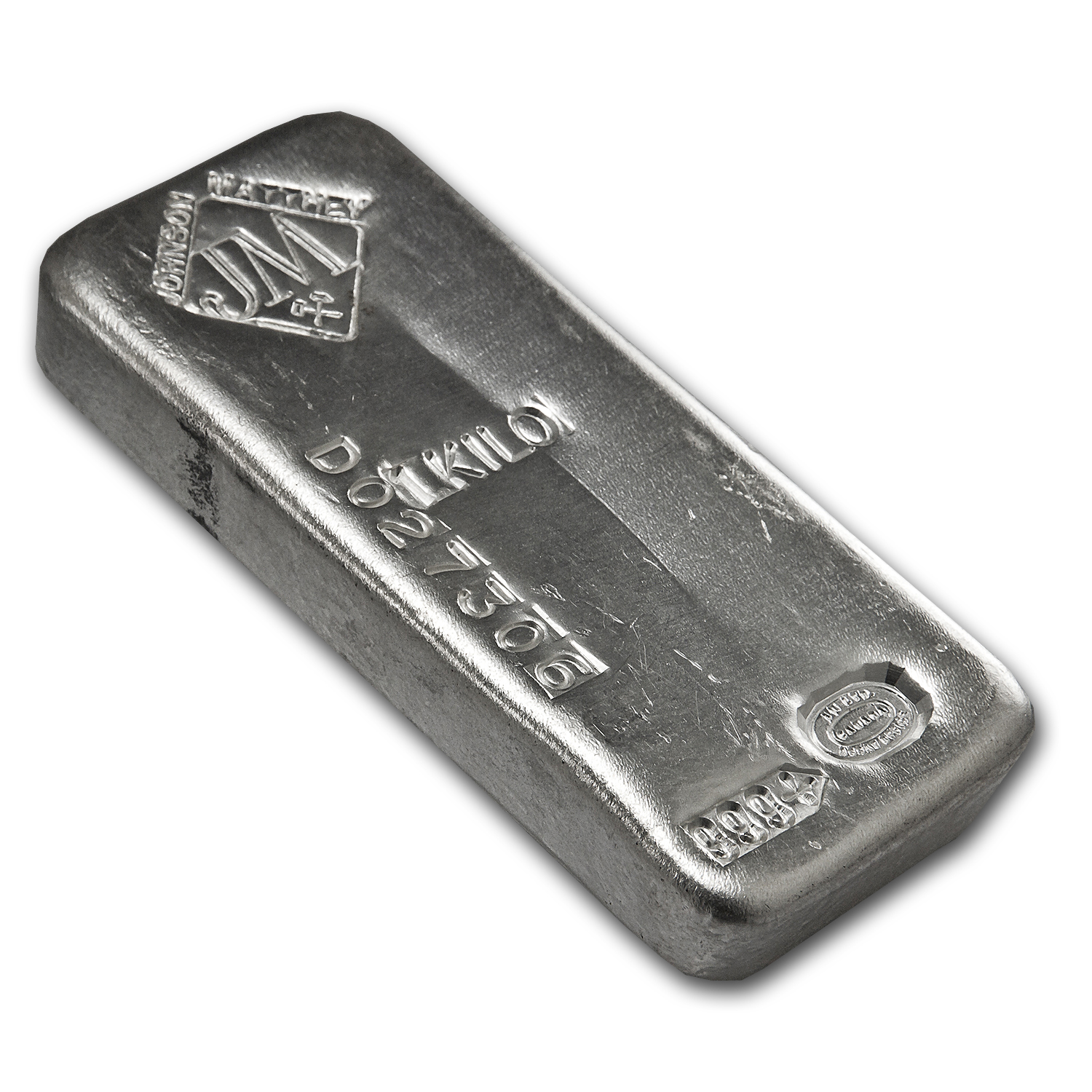 1 kilo Silver Bar - Johnson Matthey (Canada, Serial #)