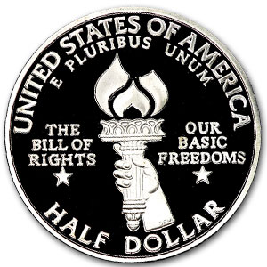 1993 Bill of Rights 1/2 Dollar Silver Commem Prf/Unc (Capsule)