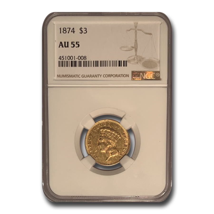 1874 $3 Gold Princess AU-55 NGC