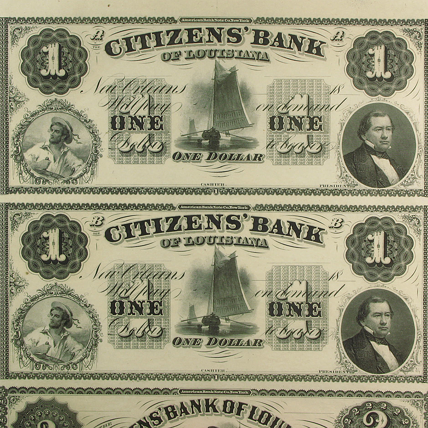 18__ UNCUT SHEET Citizens Bank of Louisiana $1-1-2-3 LA-15 CU