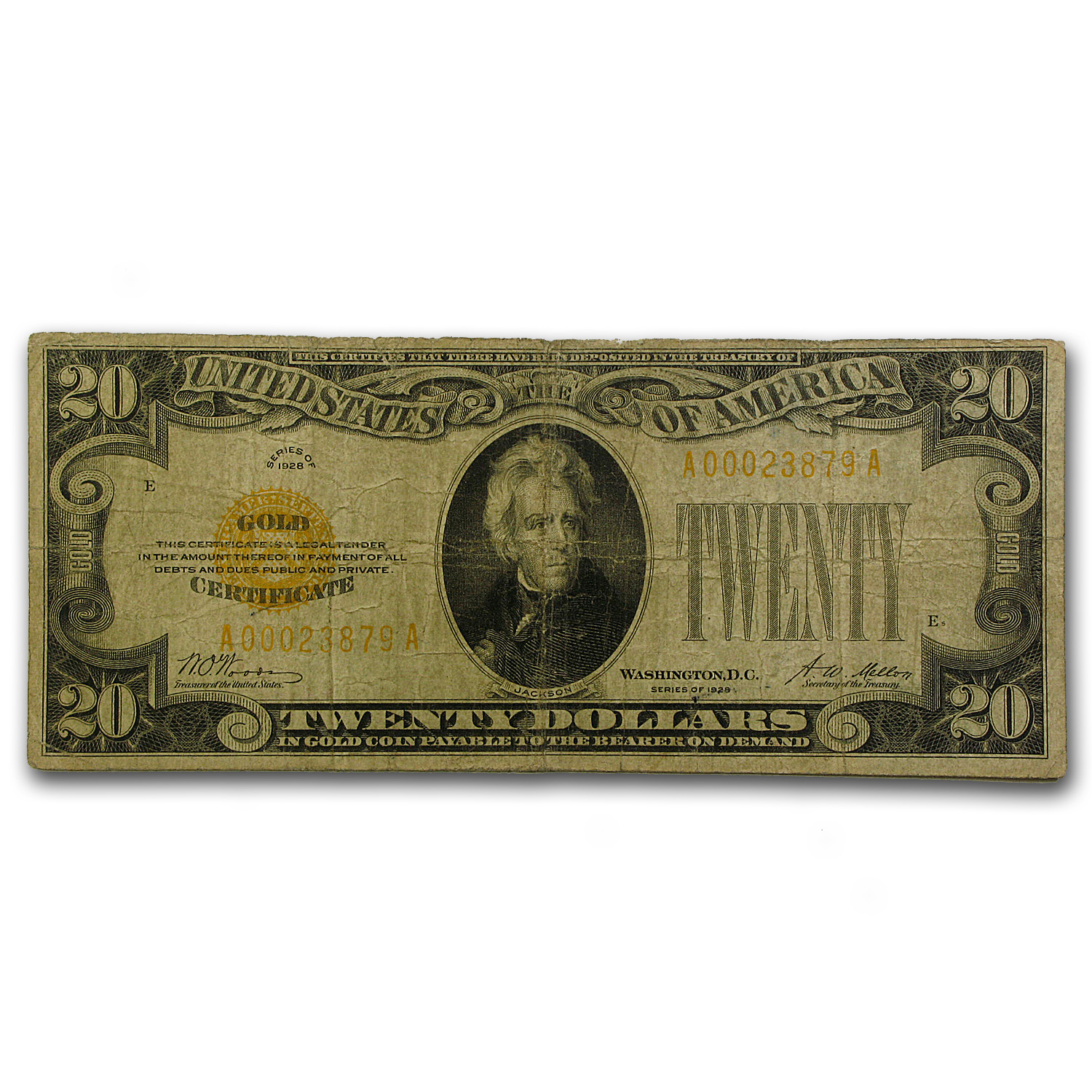 1928 $20 Gold Certificate VG