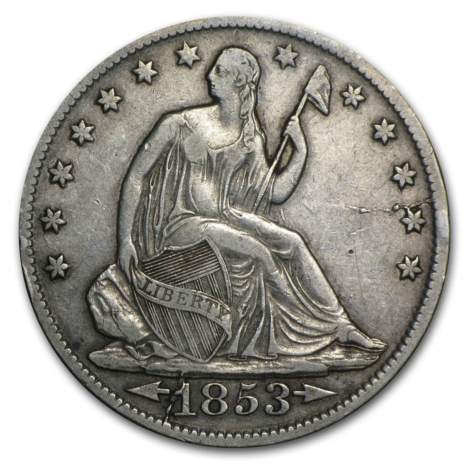 1853-O w/Arrows & Rays Liberty Seated Half Dollar Extra Fine