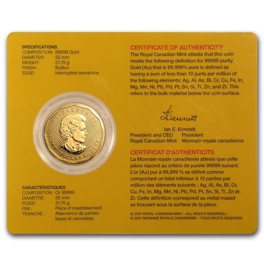 2008 1 oz Gold Canadian Maple Leaf .99999 BU (w/Assay Card)