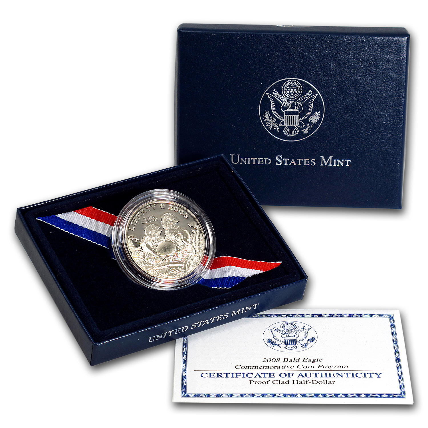 2008-S Bald Eagle 1/2 Dollar Clad Commem Proof (w/Box & COA)