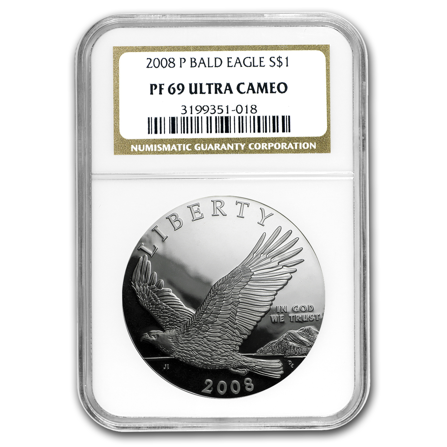 2008-P Bald Eagle $1 Silver Commemorative PF-69 UCAM NGC