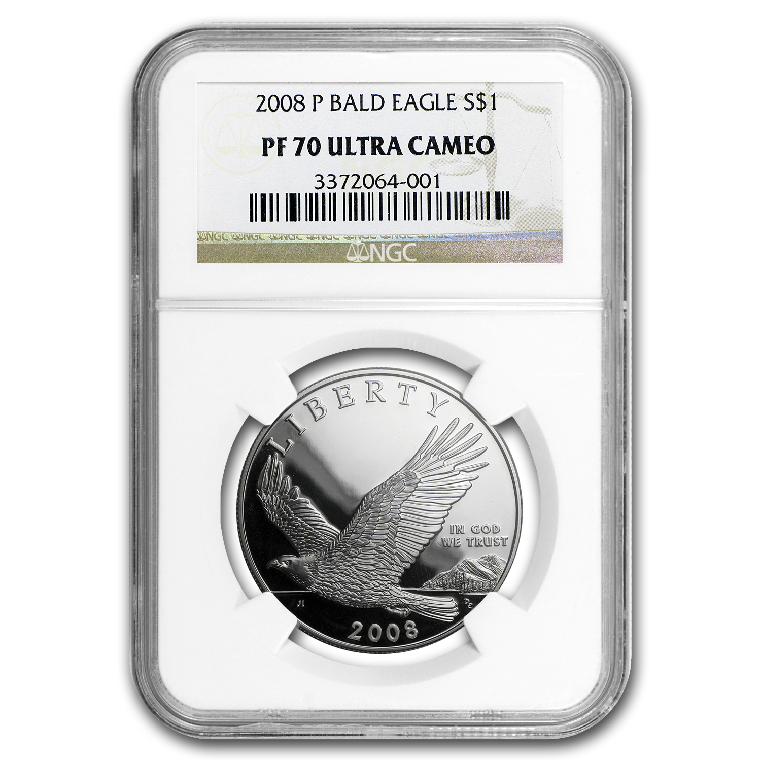 2008-P Bald Eagle $1 Silver Commem PF-70 NGC