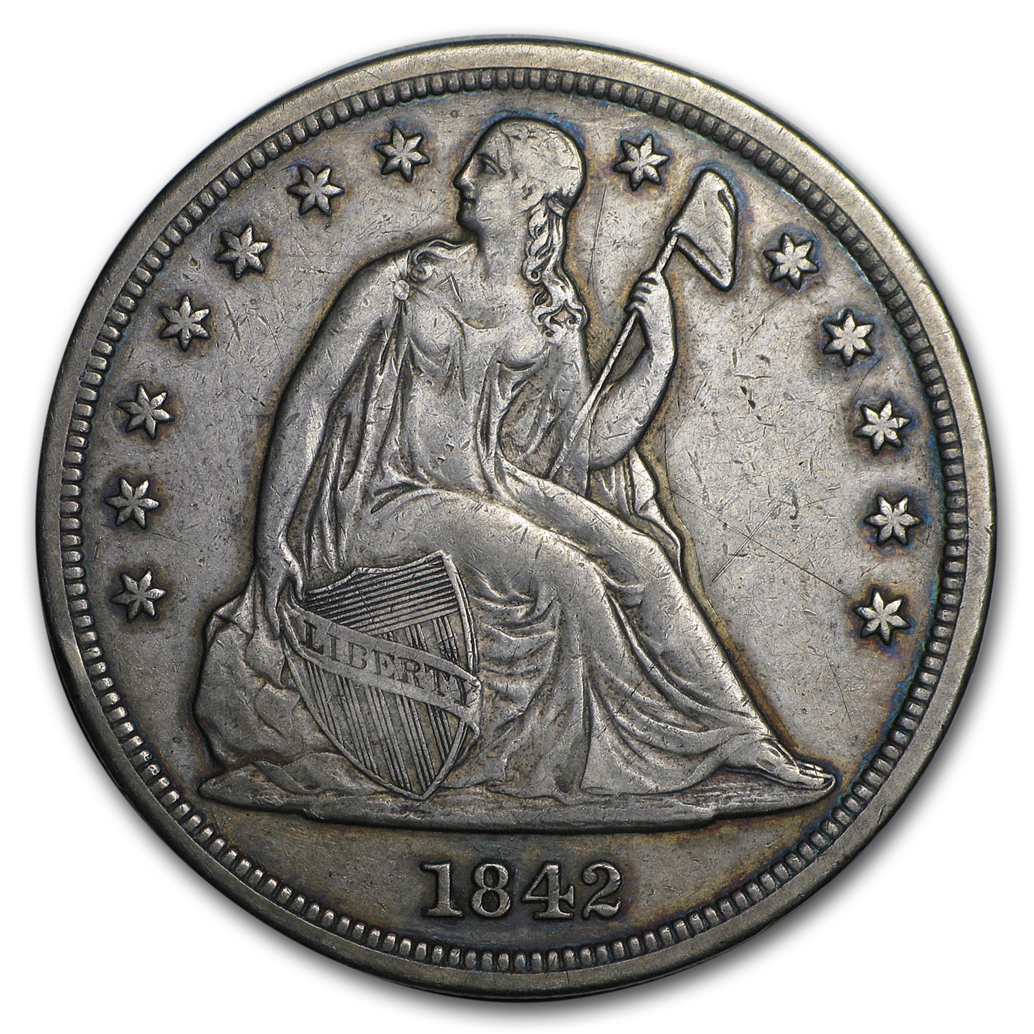 1842 Liberty Seated Dollar Extra Fine