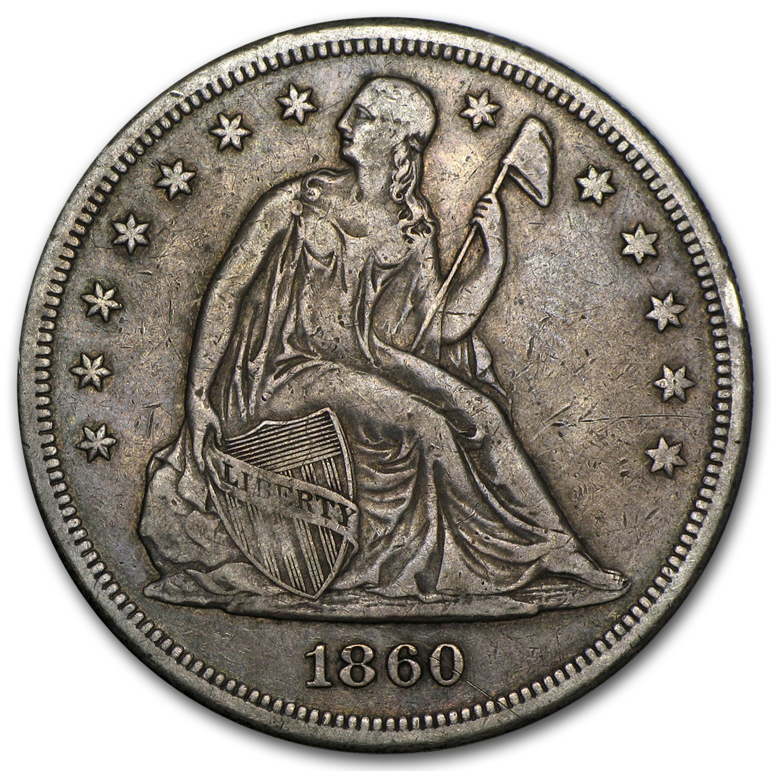 1860-O Liberty Seated Dollar XF